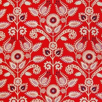 Red color Contemporary pattern Print and Cotton type Upholstery Fabric called Americana by KOVI Fabrics
