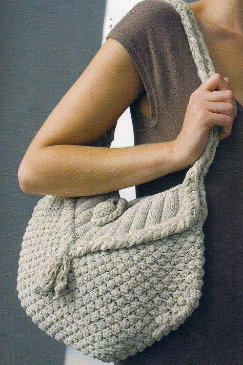 Free Knitting Patterns: Handbag. Knit handbag with crochet