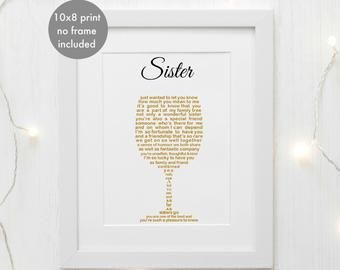 Personalised Sister Gift Unframed Personalized Print Sister Birthday Gift Sister Christmas Present Sister Poem Print Unique Prints Personalised Gifts For Sister Birthday Gifts For Sister Sister Christmas Presents