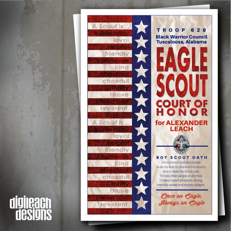 Eagle Scout Court of Honor Program Cover: Flag Law & Oath with