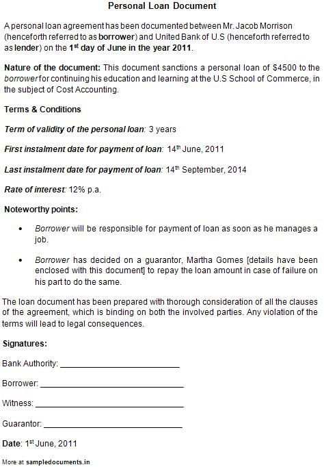 Printable Sample Personal Loan Contract Form Personal Loans