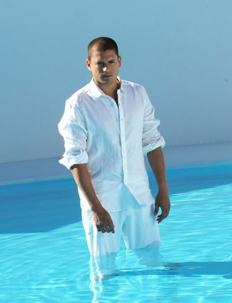 Just where he belongs...a swimming pool