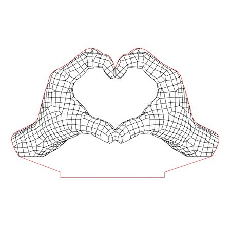 Heart Hands 3d Illusion Lamp Plan Vector File For Laser And Cnc 3bee Studio 3d Illusion Lamp 3d Illusions Illusions