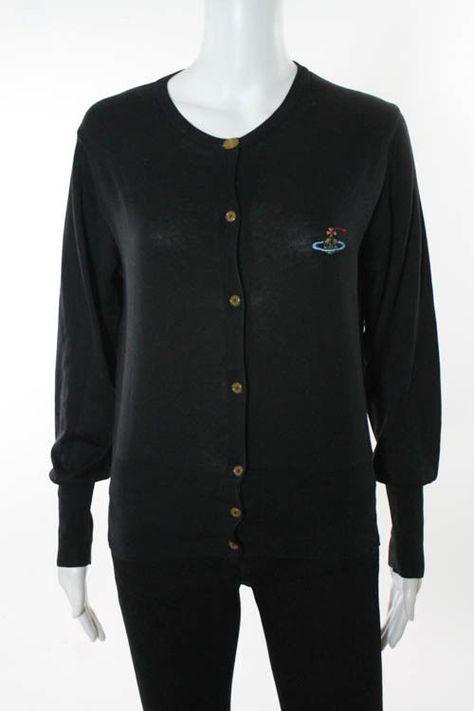 VIVIENNE WESTWOOD Black Cotton Long Sleeve Cardigan Sweater Sz L ...