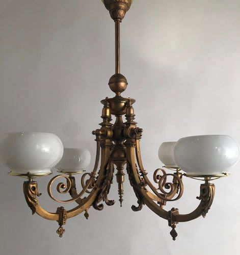 Circa 1880 Very Large Solid Bronze 4 Light Gas Chandelier