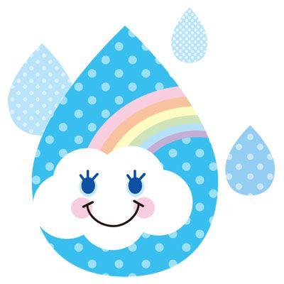 虹と雲を雨のしずくの中に閉じ込めたおしゃれな無料イラストです うちわ デザイン あじさい 手作り かわいい イラスト 手書き
