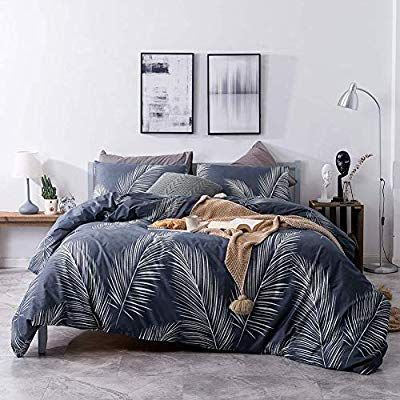 Amazon Com Mixinni Luxury 3 Pieces White Leaf Print Duvet Cover