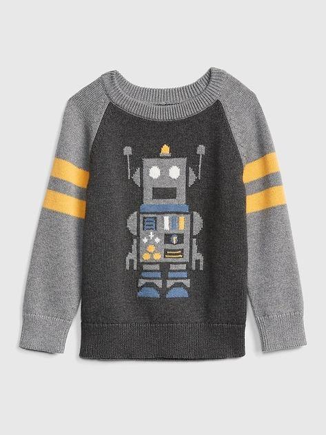 25854e9cd Gap Baby Robot Rugby Sweater Dark Heather Grey in 2018