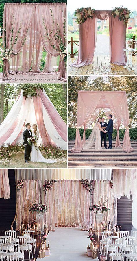 romantic dusty rose fabric wedding backdrop ideas