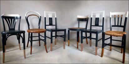 Ensemble De 6 Chaises Depareillees Style Vintage Bistrot Thonet Baumann Cuisine Relookees Blanc Gris Bois Cuivre Chaise Deco Mobilier De Salon Chaise Cuisine