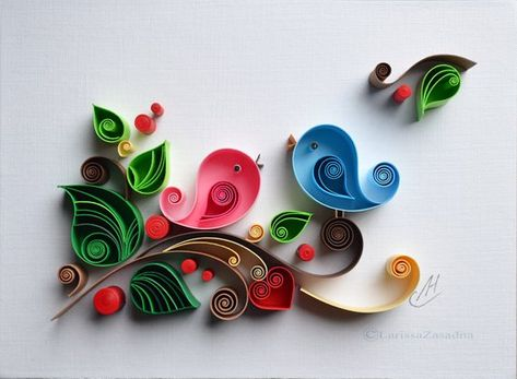 Quilling wall art Quilling art Paper quilling Love Birds | Etsy
