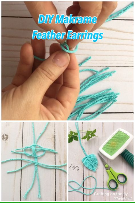 Learn Macrame knotting and make Macrame feathers with 2 simple macrame knots