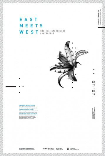 Love this interesting East meets West poster design. The use of such a vast amount of white space c… | Graphic design layouts, Graphic design posters, Poster layout