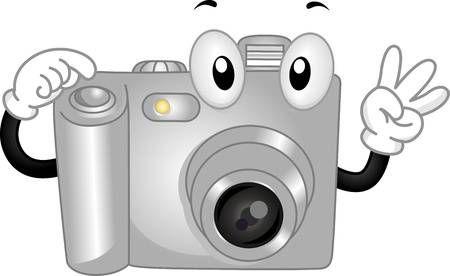 Mascot Ilustración Que Ofrece Una Cámara Digital Hacer Una Actitud útiles Escolares Animados Cámara De Fotos Dibujo Escritura De Nombres