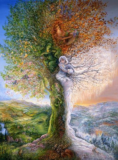 Josephine Wall - Tree of Four Seasons Revisited. Each of the four seasons is depicted in this special tree. Josephine Wall, Fantasy Kunst, Fantasy Art, Fantasy Landscape, Mother Earth, Mother Nature, Graffiti Kunst, Heaven On Earth, Tree Art