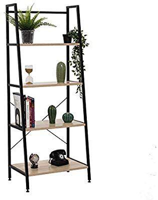 Amazon Com Bestier Vintage Ladder Shelf 4 Tier Bookshelf Metal And Wood Bookcase Home Office Storage Rack Display S Wood Bookcase Bookcase Home Office Storage Metal and wood ladder shelf