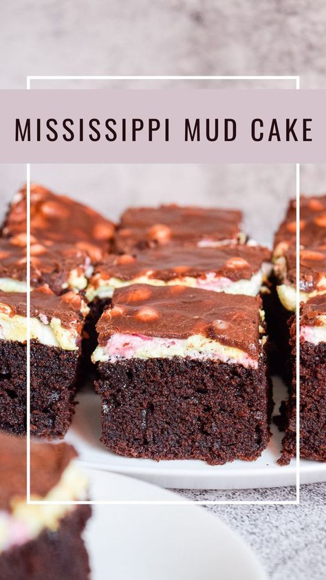 This Mississippi mud cake is a delicious chocolate cake, topped with mini marshmallows and chocolate frosting. It has a rich and dense chocolate texture with light and fluffy melted marshamllow layer, and sweet chocolate topping. #mississippi #mudcake #chocolatecake