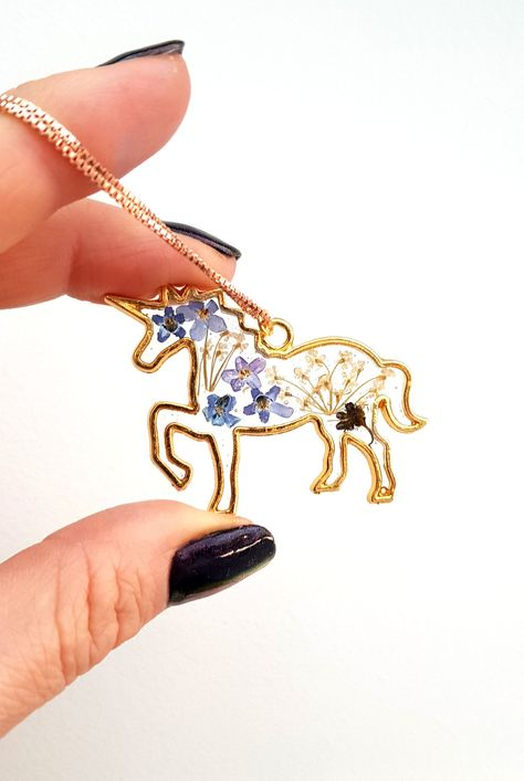 Real Pressed Flower Unicorn Necklace