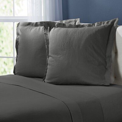Birch Lane Heritage Bernadette Washeds Linen Euro Pillow Color Slate Gray Euro Pillow Covers Euro Pillow Linen Sheet Sets