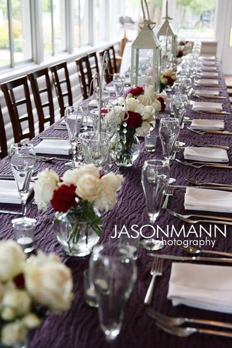 Deep purple tablecloths, white and red roses for the reception table at Gordon Lodge. Styled by DLG Creative Management, Wedding & Events. © 2013 Jason Mann Photography | www.jmannphoto.com