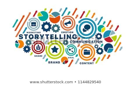 Storytelling Concept For Web Banners Hero Images Printed Materials Vector Illustration With Keywords And Icons Web Banner Concept Web Storytelling
