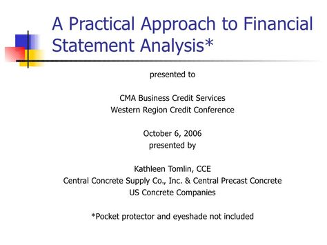 A Practical Approach to Financial Statement Analysis by Credit - daily financial report