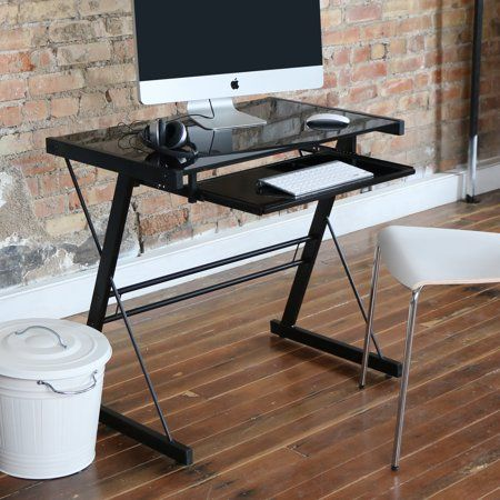 Glass Top Black Computer Desk With Pull Out Keyboard Tray By Manor Park Walmart Com Glasschreibtisch Schreibtischideen Schreibtisch Glas