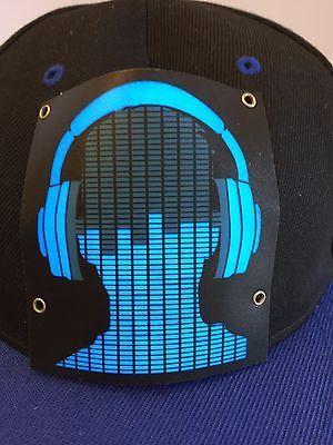 Cybwear Light Up Baseball Cap Cyb Black Blue Hat Headphone Guy Snapback One Size Blue Hat Baseball Cap Blue Black