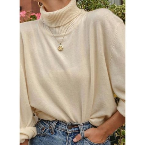 High Neckline Solid Loose Shift Sweaters (1675439859)