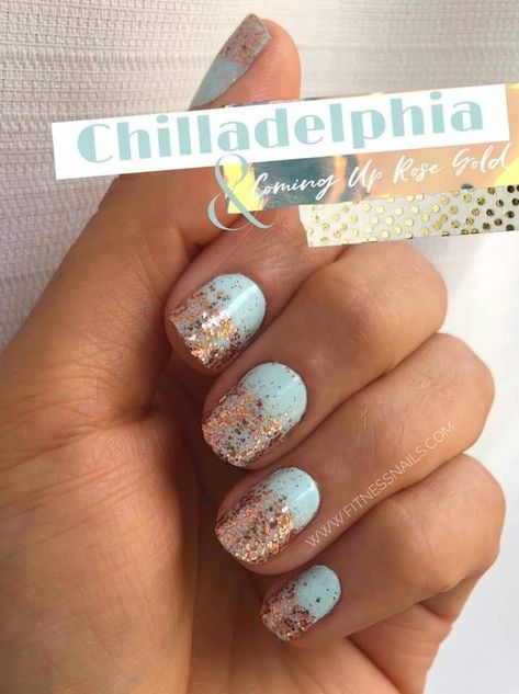Skyblue and Rosegold Perfect Pair Loving This Combo Colorstreet Nailstrips Online Shopping Updates Get Nails, How To Do Nails, Hair And Nails, Nail Color Combos, Nail Colors, Sassy Nails, Nail Time, Nail Polish Strips, Color Street Nails