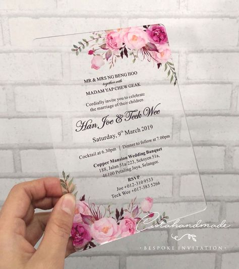 {Find More Cards Invitations Information about CA0967 Floral SIMPLY CHIC acrylic wedding invitation