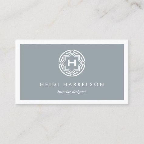 DECORATIVE INITIAL LOGO on SLATE GRAY Business Card #cool #professional #unique #logo #construction #businesscards #businesscardtemplates #uniquebusinesscards #businesscarddesign #businesscardinspiration W