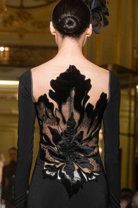 Yanina Spring Haute Couture Details/Black Evening Gown/Elegant/Sleek Low Bun/Floral Detail/Back Detail Couture Details, Fashion Details, Look Fashion, Womens Fashion, Fashion Design, Classy Fashion, Fashion Art, High Fashion, Beautiful Gowns