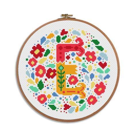 E - Bright flowers Alphabet - baby cross stitch - modern simple letter - birthday personal gift nursery decor initial wedding baby shower