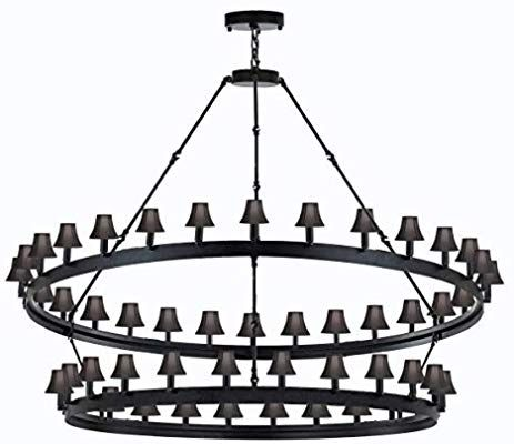 Wrought Iron Vintage Barn Metal Castile Two Tier Chandelier