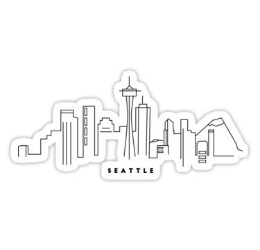 Seattle Skyline Sticker By Kate Maurer In 2020 Black White