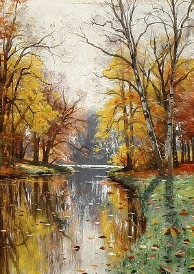 An Autumn Day On A Serpentine Creek Autumn Creek Serpentine Landscape Paintings Oil Painting Nature Oil Painting Abstract