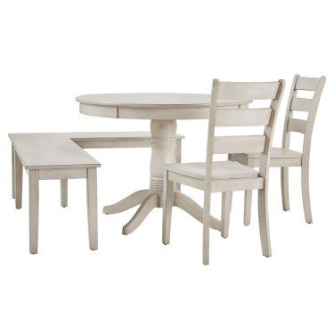 Weston Home Lexington 5 Piece Breakfast Nook Round Dining Set Antique White Hayneedle Breakfast Nook Dining