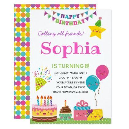 Girls Birthday Invitation Zazzle Com Happy Birthday