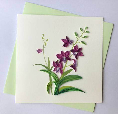 Orchid Greeting Card Quilling Greeting Card handmade | Etsy