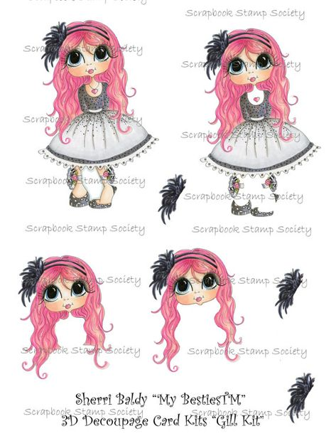 INSTANT DOWNLOAD digitale Digi Stamps Gill 3D Decoupage Kit friends Big Head Dolls Digi von Sherri Baldy