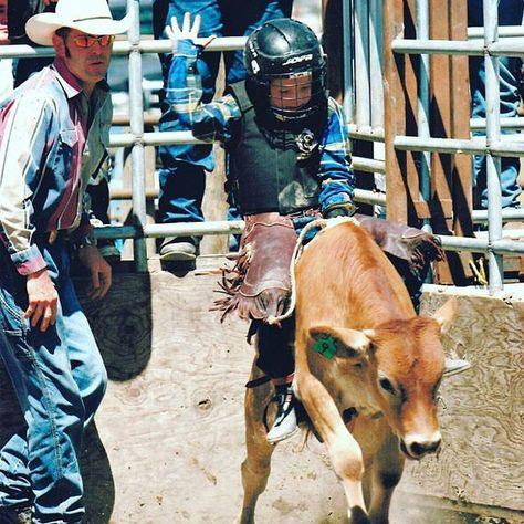 b24356654 Riding up the ranks: Young Gun Derek Kolbaba masters calf riding to kick  off his bull riding career.