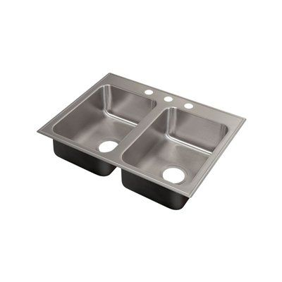 Just Manufacturing Kitchen Sink DL-ADA-2233-A-GR Drop-In Double Bowl Sink with Faucet Ledge