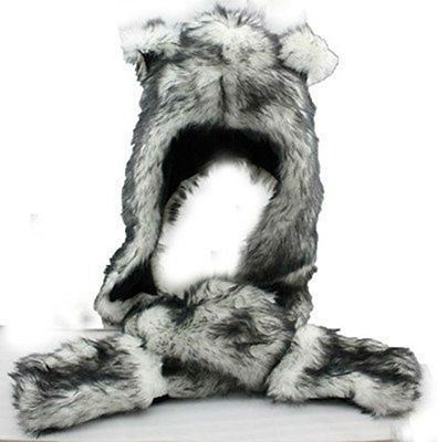 Plush Long Animal Hat Gray Wolf Zippered Pocket Scarf and Mittens