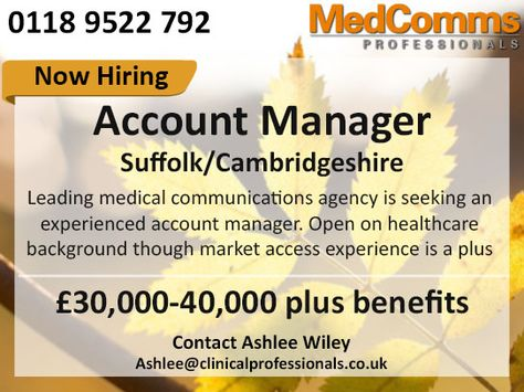 MedicalCommunications #AccountManager #Medical #London #Marketing - account manager job description