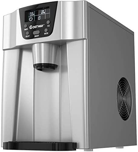 Buy Costway 2 1 Countertop Ice Maker Built In Water Dispenser Produces 26 Lbs Ice 24 Hours Ready 6 Mins Lcd Control Panel Portable Ice Cube Machine Ho In 2020 Ice Maker