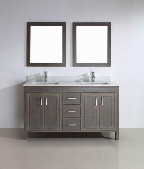 Corniche 60 Inch W 3 Drawer 4 Door Vanity In Grey With Artificial