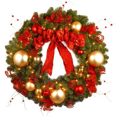 The Holiday Aisle 36 Lighted Pvc And Pe Blend Wreath Christmas Wreaths With Lights Pre Lit Christmas Wreaths Artificial Christmas Wreaths
