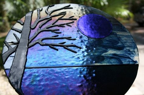 BLUE MOON RISING fused glass sculpture night scape lake view