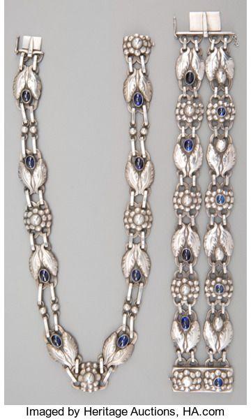 A Two Piece Georg Jensen Silver And Labradorite Jewelry Suite Copenhagen Denmark Circa 1933 1945 Jensen Silver Georg Jensen Silver 925 Silver Jewelry Design